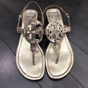 Tory Burch light gold metallic leather sandals